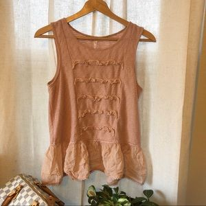 Free People Coral Flutter Boho Tank Small
